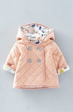 How absolutely gorgeous is this pink baby girl winter jacket? It looks so warm!