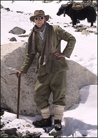 """""""Wearing replica gear made from gabardine, wool, cotton and silk, he wanted to disprove the common myth that the 1920s climbers [George Mallory and Sandy Irvine] were ill-equipped to reach the summit [on Mount Everest]."""""""