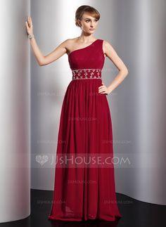 Evening Dresses - $142.99 - A-Line/Princess One-Shoulder Floor-Length Chiffon Evening Dress With Ruffle Beading (017014774) http://jjshouse.com/A-Line-Princess-One-Shoulder-Floor-Length-Chiffon-Evening-Dress-With-Ruffle-Beading-017014774-g14774