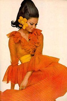 orange striped dress with yellow cumberbun, 1970s?