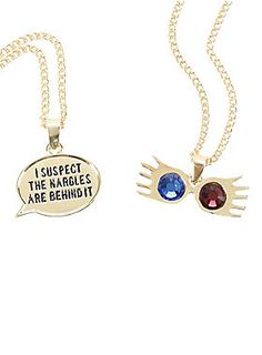 "Gold tone tone chain necklace set from <i>Harry Potter</i> - one with a Spectrespecs pendant and the other with a talk bubble design that reads ""I Suspect The Nargles Are Behind It.""<br><ul><li style=""LIST-STYLE-POSITION: outside !important; LIST-STYLE-TYPE: disc !important"">18"" chains; 3"" extenders</li><li style=""LIST-STYLE-POSITION: outside !important; LIST-STYLE-TYPE: disc !important"">Alloy</li><li style=""LIST-STYLE-POSITION: outside !important; LIST-STYLE-TYPE: disc !important"">Imported…"