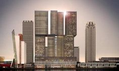 'De Rotterdam' is the biggest building in The Netherlands and was designed by the world famous Dutch architect Rem Koolhaas. Rem Koolhaas, Big Building, Building Design, Rotterdam Apartment, Rotterdam Port, Vertical City, Most Beautiful Cities, Countries Of The World, Willis Tower