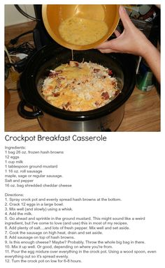 Crockpot Breakfast Casserole - Cooks while you sleep! For more great recipes and ideas, visit At Home with Terri at www.facebook.com/AtHomewithTerri