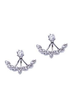 Simply Love 'Silver Olive Leaf With Zircons' Two Sided Earings Sterling Ear Double Sided Reversible Stud Two Pieces Women Fashion (Silver Olive Leaf With Zircons)