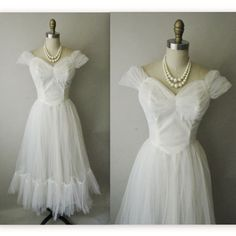 50's Wedding Dress // Vintage 1950's White by TheVintageStudio, $224.00