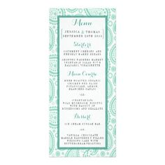 """Simple yet elegant, the modern paisley wedding collection is a stunning design featuring a lovely paisley print in a soft green and white color, which is perfect for any modern wedding celebration. <br> <br> These menu cards can be personalized for your special occasion and would make the perfect item for your wedding, bridal shower, engagement party, birthday party and many more special occasions. <br> <br> Add your custom wording to this design by using the """"Edit this design template"""" ..."""