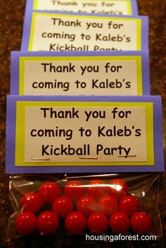 Kickball Party ~ lots of fun ideas.  Love the shirts that were made for each team!