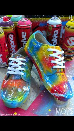 221255f82be118 CUSTOM Painted VANS Shoes by MOPS in a Graffiti by AbstractCeleb - This is  just spray painted with paint splatters but i love them XD