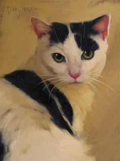 "Daily Paintworks - ""Spot a new cat painting, also I turned 50. Oh the horror?"" - Original Fine Art for Sale - © Diane Hoeptner"