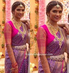 Bridal Sarees South Indian, Indian Bridal Outfits, Indian Bridal Fashion, Indian Fashion Dresses, South Indian Bride, Indian Sarees, Wedding Saree Blouse Designs, Half Saree Designs, Saree Wedding