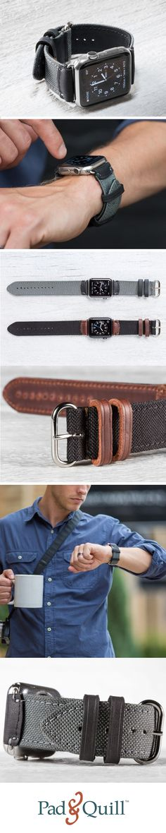 For Apple Watch. Super rugged, durable, and water-resistant Cordura fabric upper with American full-grain leather highlights & super soft interior and UV-resistant stitch thread as used in parachutes with nickel finish Apple Watch lugs and buckles.