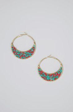 Blue & Pink Gold Seed Bead Hoop Earrings