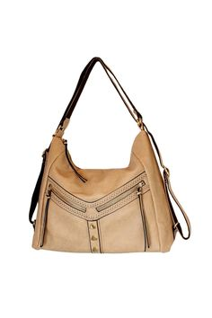 """A tote style bag the straps are adjustable so you can wear it over your shoulder or as a backpack when you need to go hands-free. This taupe bag features 3 exterior zipper pockets and 2 interior zipper pocket and has a gold zipper closure along with other gold detailing.  Measures:18"""" x 12"""" with adjustable straps.  Convertible Backpack by Mellow World. Bags - Backpacks Vancouver Canada"""