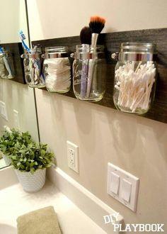 Click Pic for 18 DIY Bathroom Storage Ideas - Mason Jar Organizers - Bathroom Organization Ideas Bathroom Organisation, Home Organization, Organized Bathroom, Organizing Ideas, Organized Pantry, Bathroom Space Savers, Space Saver Bedroom, Kitchen Space Savers, Pot Mason Diy