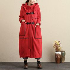Hooded Women Cotton Polyester Zipper Buttons Long Coat