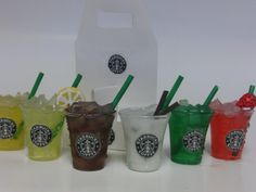 Starbucks inspired 6  drinks with carrier by FUZZYPINKBODYTREATS, $18.75