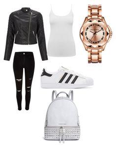 """1st outfit put together"" by zemijacob ❤ liked on Polyvore featuring River Island, Lipsy, M&Co, adidas Originals and Michael Kors"