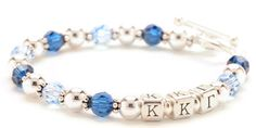 Beaded sorority bracelet can be customized with any sorority letters and their colors.  Handmade with sterling silver beads and Swarovski crystals by Lily Brooke Jewelry