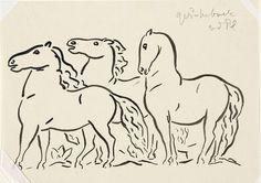 Zonder titel Drie paarden, staand naar links kijkend, vignet voor biografie van Gestel door Prof. W. van der Pluym, Leo Gestel, 1935 - 1936