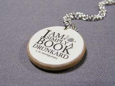 """I am simply a book drunkard"" L.M. Montgomery Book Lover Quote Necklace"