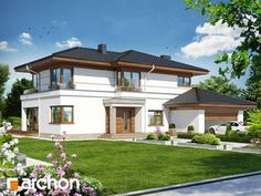 Projekt domu Willa Weronika 3 - ARCHON+ Duplex Design, Villa Design, Unique House Design, Cool House Designs, Big Beautiful Houses, Bali House, Modern Mansion, Facade House, Classic House
