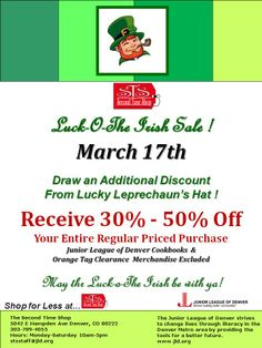 Draw a great deal from The Lucky Leprechaun Hat! 30%-50% Off regular and sale price merchandise! WOW!