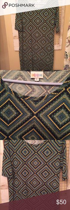 LuLaRoe Julia XL Green & gold for you Packer fans! Beautiful colors! Worn one time! LuLaRoe Dresses Midi