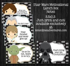 Printable Star Wars Lunch Notes