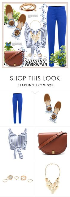 """Summer Workwear"" by helenaymangual ❤ liked on Polyvore featuring Moschino, Tory Burch, WithChic, Victoria Beckham, GUESS, Lydell NYC and Jennifer Lopez"