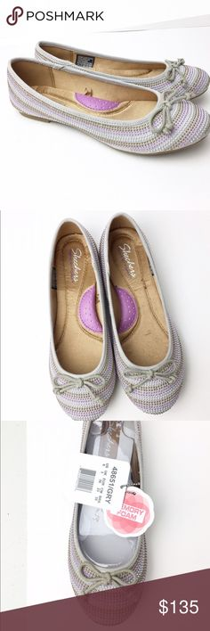 SKETCHERS PREMIUM Memory Foam Ballet Flats Gray 6 Brand new Sketchers Premium > high end Ballet Flats with luxurious Memory Foam padding throughout. Style Name: Juliet Color: Gray (looks lilac and gray)   Size: 6 Condition: new in original box ❌No Trades❌ Skechers Shoes Flats & Loafers