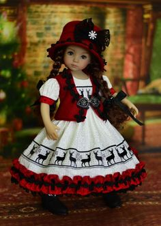 """""""Nordic Holidays"""" Dress, Outfit, Clothes for 13"""" Dianna Effner Little Darling #LuminariaDesigns"""