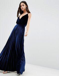 ASOS | ASOS Blouson Strappy Pleated Velvet Maxi Dress