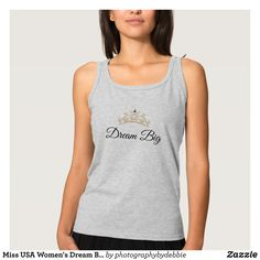 """Miss USA Women's Dream Big Tiara Tank Top - Fashionable Women's Tank Tops By Creative Talented Graphic Designers - #tanktop #fashion #apparel #clothes #clothing #design #designer #fashiondesigner #style #trends #bargain #sale #shopping - Women's Slim Fit Racerback Tank Top is made from the softest material and perfect as a first or bottom layer or your only layer on warm days! - Best of all it's one of our most affordable tank tops! - Size & Fit Information - Model is 5'8"""" and wearing a…"""