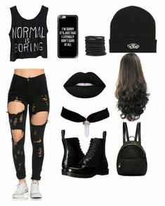 Normal is boring ❤✌ roupas góticas, roupas pretas, roupas top, roupas bonitas Cute Emo Outfits, Bad Girl Outfits, Teen Fashion Outfits, Teenager Outfits, Edgy Outfits, Swag Outfits, Grunge Outfits, Outfits For Teens, Summer Outfits