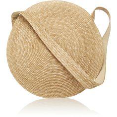Samuji Circle Straw Bag (695 BRL) ❤ liked on Polyvore featuring bags, handbags, tan, summer purses, lightweight handbags, summer beach bags, summer straw handbags and brown bag