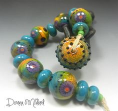SRA HANDMADE LAMWPWORK Glass Beads Set Donna Millard turquoise orange lime green modern art autumn fall