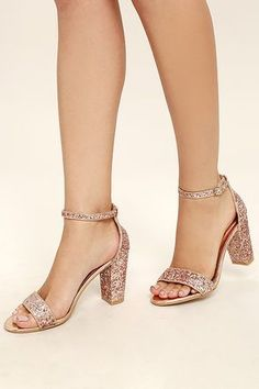 Stunning Champagne Heels - Rose Gold Heels - Glitter Heels -  37.00 Rose  Gold Glitter Heels 8752ce5ea84e