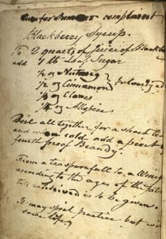 Recipe for Blackberry Cough Syrup, circa 1820. I bet the brandy helps!