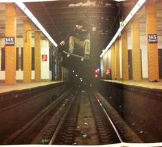 Photo: Skateboarder Jumps Over Subway Tracks: Gothamist