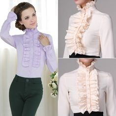 Women High Neck Frilly Womens Vintage Victorian Ruffle Top Shirt Blouse 68 #Unbranded #Blouse #CareerCasual