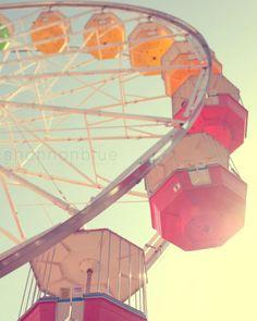 http://www.etsy.com/shop/shannonpix?ref=seller_info    Another fun photo for a nursery    $28 ferris wheel // 8x10 fine art carnival photograph // carnival ride sunlight amusement park photography