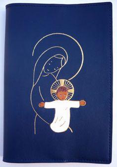 Nouveau motif de liseuse en cuir : TOTUS TUUS MARIA avec incrustation, pour Magnificat et Prions en Eglise