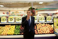 Obama at the Fruit section of a supermarket