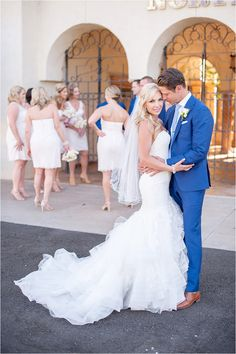 Glam Scottsdale wedding at the McCormick golf course with pale pink bridesmaid dresses and royal blue suits for the groomsmen. - Photos by Drew Brashler Photography