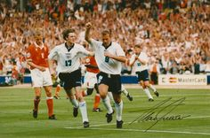 Original colour photograph of Alan Shearer celebrating after scoring against Swizerland in Euro 18 x Signed in ink by Alan Shearer next to his. Euro 1996, Alan Shearer, Garra, Team Player, Coming Home, Newcastle, Netherlands, The Past, Photographs