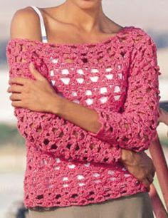 Patrones de Tejido Gratis - Suéter súper calado (crochet)