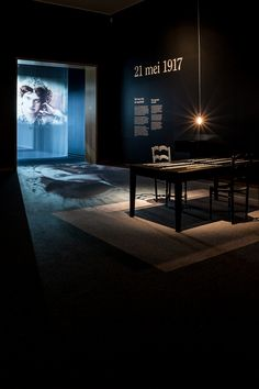 Experience the oprressive atmosphere Mata Hari must have faced during one of her last questionings before her execution. #evocative #narrativespace #exhibitiondesign