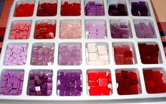 Polyresin tesserae -- :-))) I like them too :-) Here is the original supplier: www.crystalinemosaics.com/shop/category.php?PCat=24+Compa...  My three trays containing different colors were bought in Hungary in a simple craft shop.  The tesserae are 1x1 and 0,5x0,5 cm, cca. 2 mm thick.   By:  Judit Bozsár