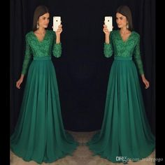 Emerald Green Lace Chiffon Long Sleeve Prom Pageant Dresses 2018 Modest V-neck Beaded Plus Size Women Formal Occasion Evening Dress Prom Dress with Sleeve Lace Evening Dress Mermaid Prom Gowns Online with $139.43/Piece on Readygogo's Store | DHgate.com