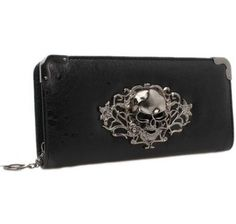 76349bbb2726 Hengsong Women Vintage Pu Leather Long Punk Zipper Skull Clutch Wallet  Purse   Click image for